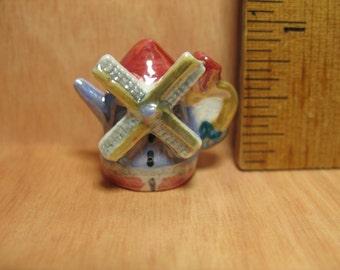 FANCIFUL TEAPOT Windmill Holland Denmark International Travel Souvenir -  French Feve Feves Porcelain Doll House Miniatures D106