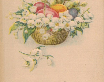 Antique Postcard Easter with Basket of Flowers