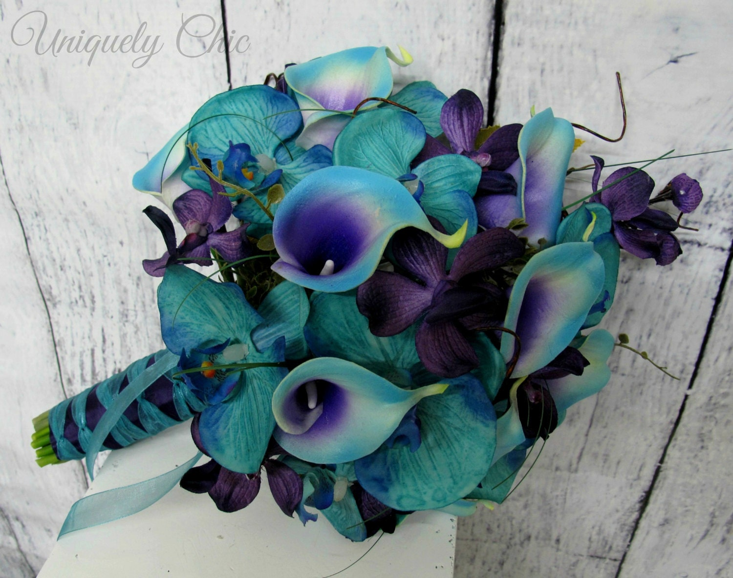 Wedding bouquet Turquoise purple blue orchid calla lily