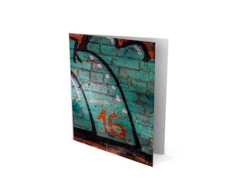 Aqua and Rust - Greetings Card – Birthday – Anniversary – House Warming – Urban Art – Martin Sylvester – Sylvo81