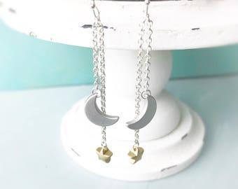 Earrings, moon and star silver snd gold earrings