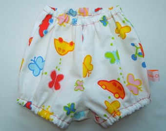 Printed cotton bloomers cars and butterflies, 6-12M.