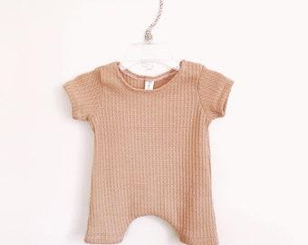 Shortie Natural Thermal Harem Romper- baby onesie, solid romper