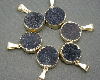 Round Black Druzy Cluster Pendant with 24k Gold Electroplated Edges-- Round Pendant CRD (S48b12-07)