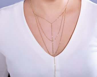 Harness Necklace, Body Chain Necklace, Gold Faux Body Chain Necklace, Mock Harness Body Chain, Linked Layers, Web Necklace in Gold or Silver