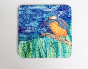 Kingfisher coasters ~ animal coasters ~  nature coasters ~ Kingfisher print ~ Kingfisher bird ~ Kingfisher gift