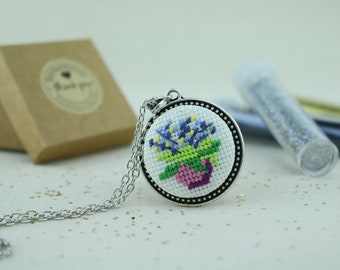 Potted Flower Cross Stitch Stainless Steel Necklace