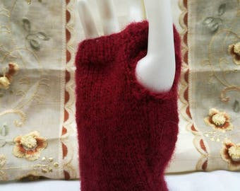 Red brushed wool wrist warmers