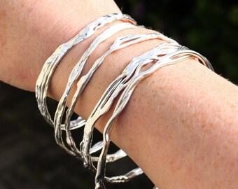 Silver Stacking Bangles, Argentium Sterling Silver Bangle, Ecofriendly Organic Design Silver Bangle, Non Tarnish Silver Bangle, Elementisle