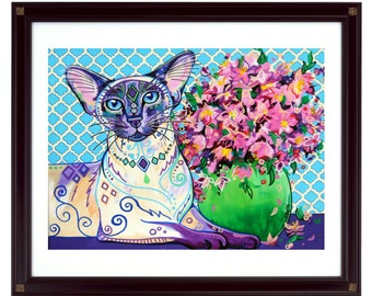 Cat art print, Cat decor, Siamese cat art, Cat lover gift, Cat wall art