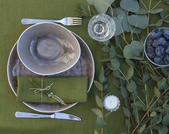 Softened Linen Napkins Set,Large Dinner Napkins,Green Table Linen,Pure Linen Napkin,Linen Napkin Cloth,Christmas Napkins Set,Wedding Napkins