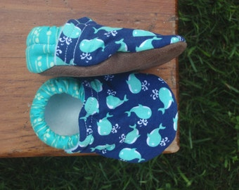 Baby Shoes for Boys - Turquoise Little Whales on Navy Background - Custom Sizes 0-3 3-6 6-12 12-18 18-24 months 2T 3T 4T