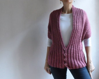 Womens Chunky Vest, Pink Vest, Long Sleeved Hand Knitted Shrug