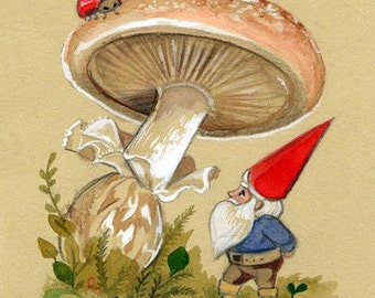 Original Painting matted, Ladybug Espies a Gnome