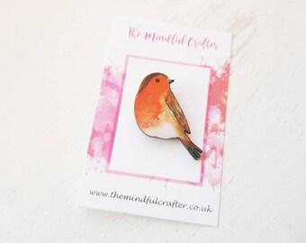 Robin brooch bird brooch  brooch red robin pin robin red breast pin bird pin robin jewellery wild bird jewellery robin brooch robin red