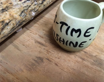 Vintage Hand Painted Coffee Cup; News-Time Sunshine