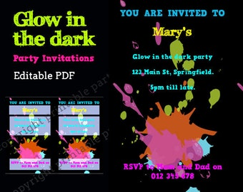 Glow in the Dark Party Neon Color Invitation - editable PDF - add your own text - INSTANT DOWNLOAD