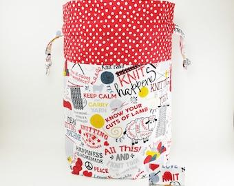 "Knitting Project Bag - New!  ""Do Ewe Knit?"" Large Drawstring Project Bag (V)"