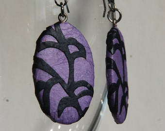 Purple Paper Earrings Dangle Mauve Earrings  Leaf Design Hypoallergenic hooks Lightweight Ear rings