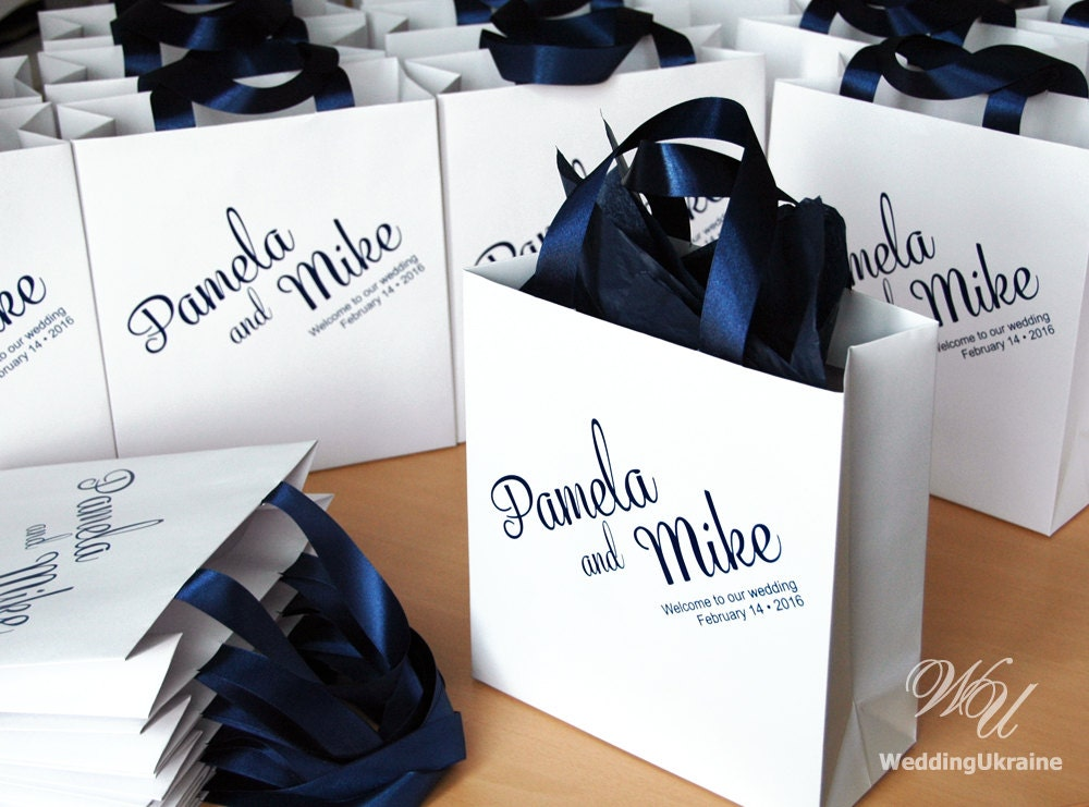Wedding welcome bags with navy satin ribbon and names zoom junglespirit Image collections