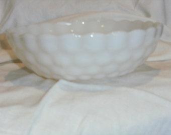 Vintage Bubble Glass White Bowl