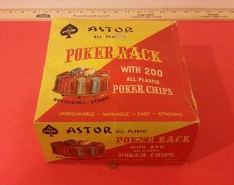 Vintage Astor Poker Chips and Rack