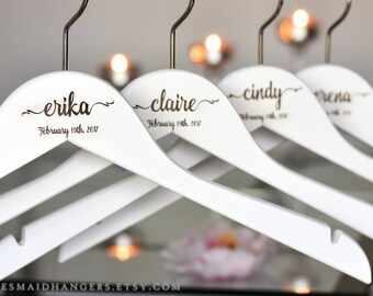 Bridesmaid Dress Hanger, Bridesmaid Proposal Gift, Personalized Wedding Hanger, Bridal Party Gift, Wedding Dress Hanger H01