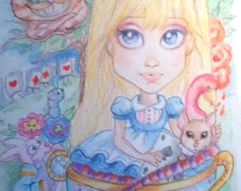 Alice In Wonderland Big Eye Fantasy Fairytale Art Print 8.5 x 11