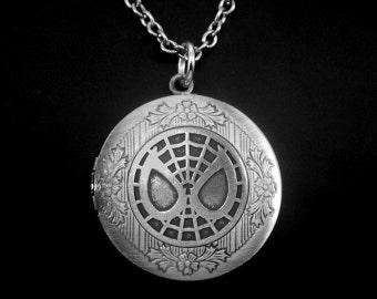 Spider-man Locket -Spiderman Photo Locket -Super Hero Locket Necklace -Wedding Jewelry -Gift for Bridesmaid
