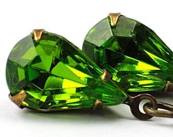 Green Vintage Glass Jewel Earrings, Dangle Drop Teardrop Earrings, Olive Olivine Green Antiqued Brass Jewelry, Tear Drop Minimalist Modern
