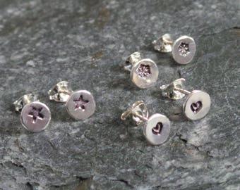 Token Dot Customised Stud Earrings - Sterling Silver Heart Star or Snowflake Stud Earrings - Silver Small Stud Earrings - Etsy UK