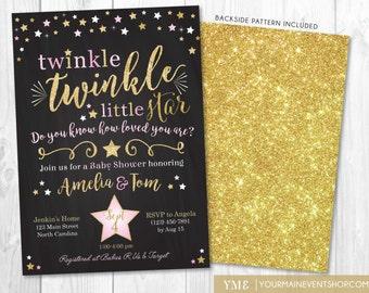 Twinkle Twinkle Little Star Baby Shower Invitation, Twinkle Twinkle Shower Invite, Pink and Gold Star Invite, Girl Baby Shower • BS-T-01