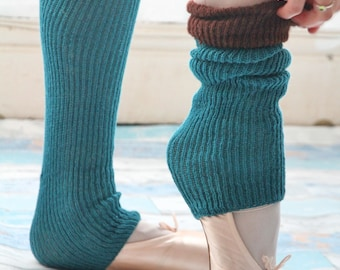 KNEE HIGH BALLERINA  Yoga/Dancer's legwarmers - hand kranked and finished - 60cm one size fits all-Block colour teal and brown   wool