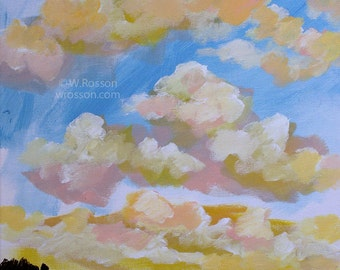 Bright Sky, Sunrise, Colorful Clouds, Blue Sky, Original Painting, Inspriational, Art, Home Decor, Office Art, Gift, Winjimir, Square Canvas