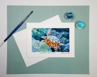 Hawaiian Sea Turtle Greeting Card, Sea Turtle Watercolor Painting, Handmade 5x7 Note Card, Birthday Card, Housewarming Card, Thank You Card