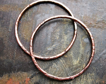 Chestnut Opal Copper Links - 1 pair - 27mm - 16 gauge Patina Artisan Soldered Circles