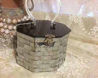 Cute Metal  Basketweave Purse