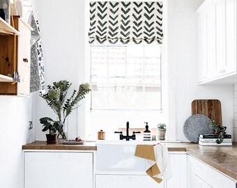 Inkflow, Black U0026 White Roman Shade, Linen Roman Shade, Fabric Roman Shade,