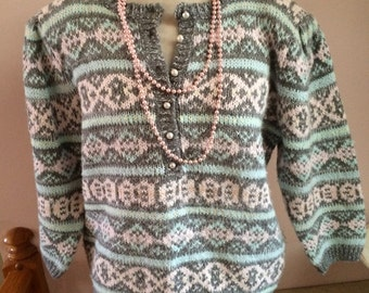 Colter Bay Sweater late 80's 90's Pastel Spring Easter Petite Medium Ladies with Matching Bead Necklace