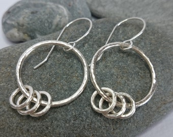 La Bamba Earrings - Handmade Silver Hoop Earrings - Hammered Hoops -  Three Ring Earrings - Handmade Earrings - Silver Earrings - Dangle