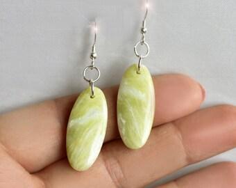 Lemon Chiffon - Yellow Serpentine Sterling Silver Earrings