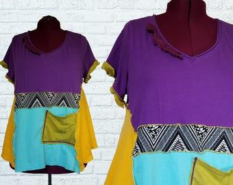 Color block Tunic Shirt 1x 2x XXL Eco Friendly Plus Recycled Fashion Purple Yellow Green Boho Quirky