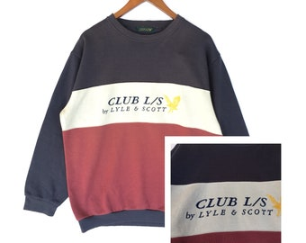 Three colour Lyle & scott sweatshirt sweater embroidery spellout pullover vintage clothing men women outfit size large