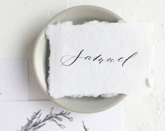 Calligraphy Place Cards // Handmade Paper // Deckled Edge // Cotton Rag Paper // Raw Edge