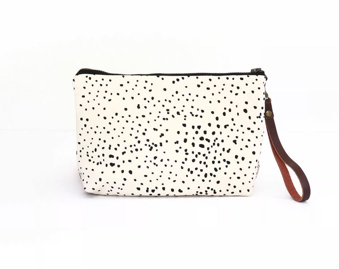 New!  Sketch Polka Dot Waxed Canvas Clutch with Leather Wristlet Strap
