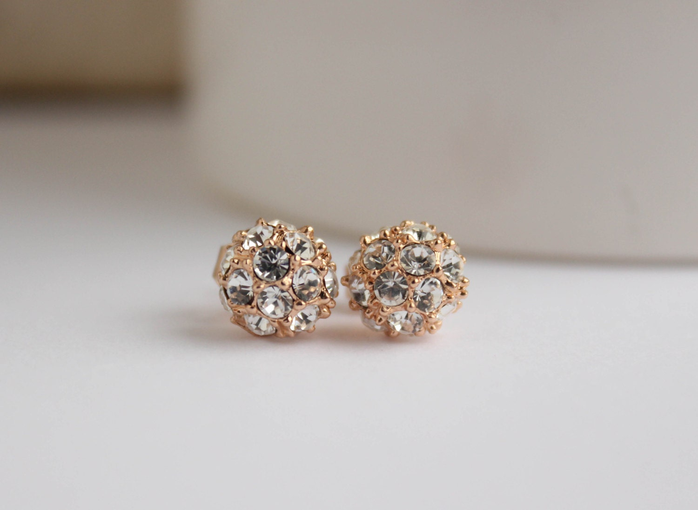 Rose Gold Studs Rose Gold Earrings 18k Rose Gold Sparkle