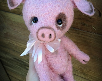 "PINK PIG - mohair artist teddy pig KIT - 9"" tall when completed"