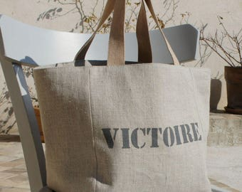Tote bag in natural linen with a name. custom bag. linen bag. gift idea for woman. gift for her