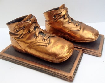 Vintage Bronzed Baby Shoes / Booties Mounted  Bookends