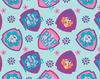 Paw Patrol Shields Toss on Blue Fabric / Paw Patrol by David Textiles 4049 / Paw Patrol by the  Yard and  Fat Quarters